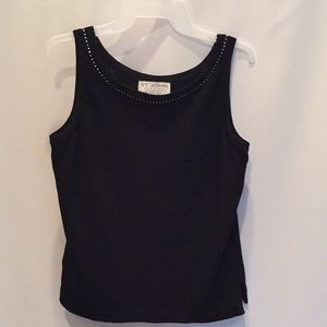 ST. JOHN Evening Knit Tank Black Shell Rhinestones